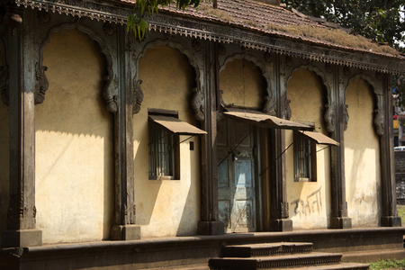 Close-up of facade of old structure for last rituals of people from royal Bhosale family of Kolhapur Sansthan near Panchganga Ghat, Kolhapur