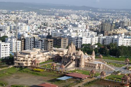 Swaminarayan temple aerial view from the hill, Pune, Maharashtra, India