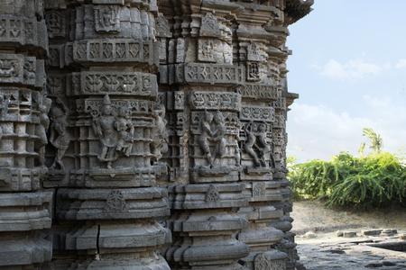 Ornamented Walls at Daitya Sudan temple in Lonar, Buldhana District, Maharashtra, India. Stock Photo