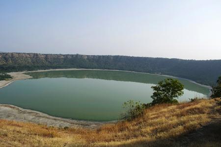 Lonar Lake at Lonar in Buldhana District, Maharashtra, India.