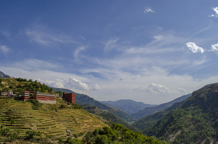 Terrace paddy fields near Rudraprayag, Garhwal, Uttarakhand, India. Stock Photo