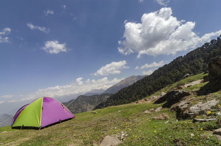Camping Site and tent near Tungnath Base, Chopta, Garhwal, Uttarakhand, India.