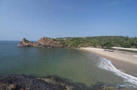 NIvti rock and Nivti beach, Sindhudurg, Maharashtra state of India. Stock Photo