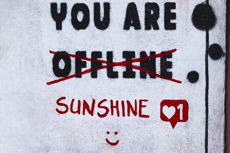 Quote grafitti on wall, street or wall art Zdjęcie Seryjne