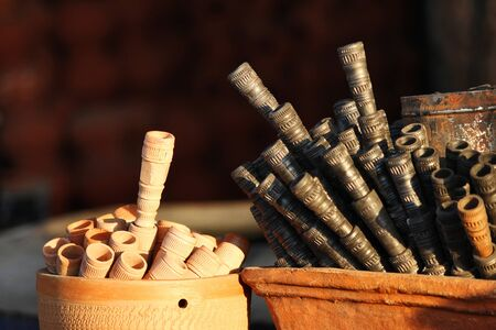 Chillum or tobacco pipes for sale on street, Pune, Maharashtra