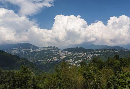 View of Gangtok from Rumtek Monastery at Sikkim, India. Imagens
