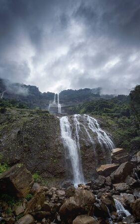 Beautiful view of Kynrem falls in Meghalaya, India. Imagens