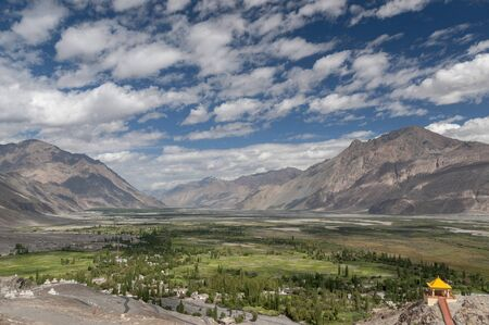 View of Nubra Valley from Diskit Monastery, Ladakh, India.