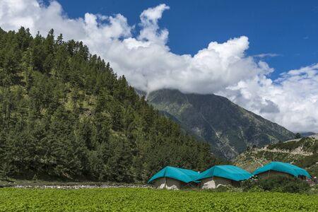 Tourist campsite at Chitkul at Himachal Pradesh in India