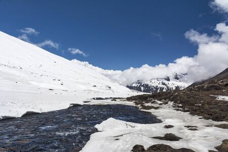 Glacier river at Zero Point in Sikkim, India