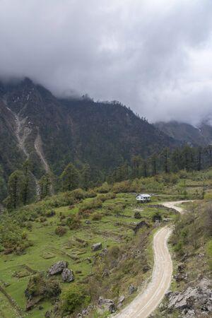 Aerial view of Lachun Gurudongmar road in Sikkim, India