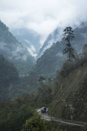 Transport vehicle in high mountain passes at Lachun, Sikkim, India.