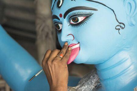 Kumartuli Idol maker during Navratri Utsav in Kolkata, India