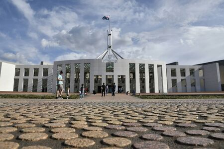 CAMPBELL, AUSTRALIA, April 2019, Tourist at Parliament house, Capital Hill Редакционное