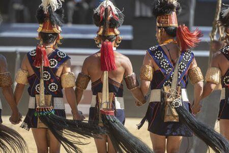 NAGALAND, INDIA, December 2013, Naga Tribal dance during Hornbill festival. Editoriali