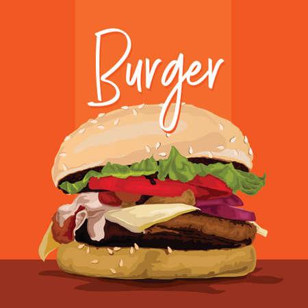 Burger illustration on orange background