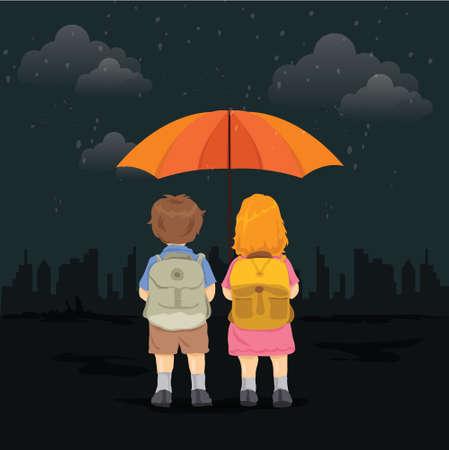 School going children standing in rain holding an umbrella