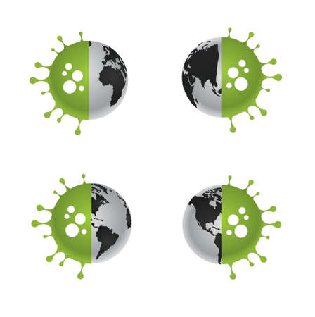 4 sides of globe infected by corona virus pandemic