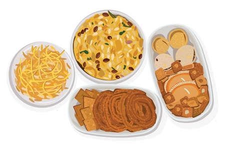 Collection of Indian snacks served on plate Ilustração