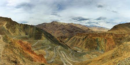 Panomaric top view of winding road to Lamayuru, Ladakh, India