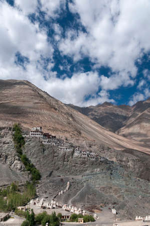 Aerial view of Diskit Monastery or Diskit Gompa is the oldest and largest Buddhist monastery in the Nubra Valley, Ladakh, India