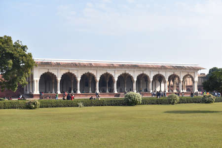 Agra, Uttar Pradesh, January 2020, Front view Diwan-i-am or Hall of public Audience used by the Emperor Shah Jahan 新闻类图片