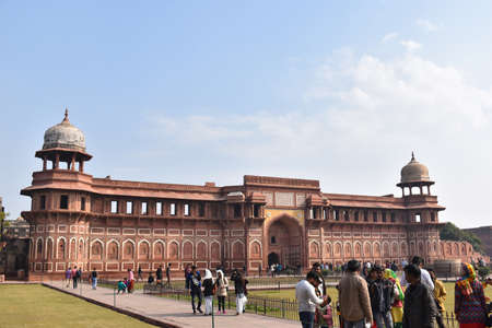 Agra, Uttar Pradesh,  January 2020, Jahangir Mahal is a residential palace built by Akbar within the Agra Fort complex