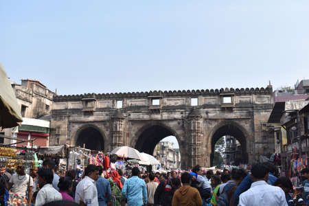 Gujarat, January 2020, Teen Darwaja, architectural marvel made up of arched gateways, one of the longest and oldest gateways in Ahmedabad