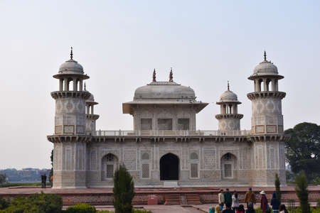 Agra, Uttar Pradesh, January 2020, Side view, mausoleum of Etmaduddaula or Itmad-ud-Daula tomb often regarded as a draft of the Taj Mahal 新闻类图片