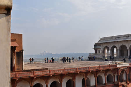 Agra, Uttar Pradesh, January 2020, The Taj viewed from Courtyard Agra Fort, Rakabganj