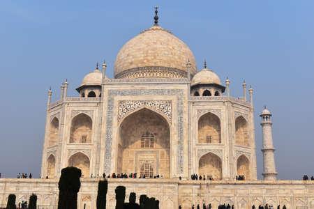 Agra, Uttar Pradesh, January 2020, Front view of Taj Mahal, from Great Gate
