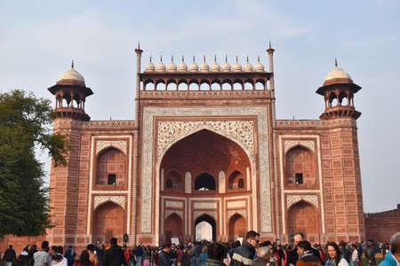 Agra, Uttar Pradesh, January 2020, Great Gate or Darwaja-i-rauza gateway to the gardens which, symbolically, represents paradise