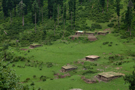 Huts in Aru valley a tourist spot in the Anantnag District of Jammu and Kashmir, India Stock Photo
