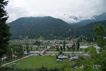 Pahalgam village aerial view, Jammu andKashmir, India