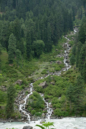 Stream meeting in the river at Aru valley , Anantnag District of Jammu and Kashmir, India