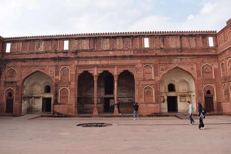 Agra, Uttar Pradesh, January 2020 - Jahangir Mahal made of red sandstone at Agra Fort