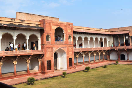 Courtyard of Shish Mahal or Glass Palace with tourist