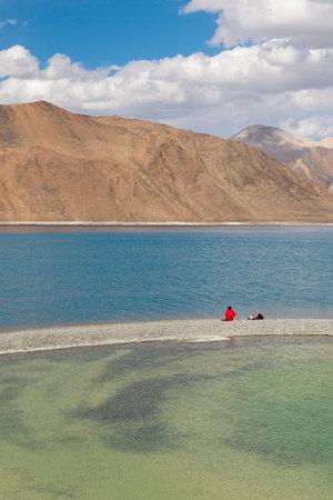 Tourist at lake view, Ladakh, India
