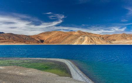 Serene Pangong lake, Ladakh, India. Pangong Tso is an endorheic lake in the Himalayas situated at an elevation of 4,225 m