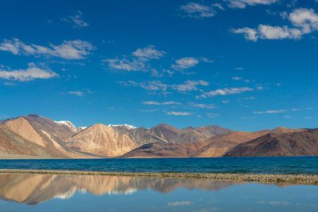 Southern Side of Pangong lake, Ladakh, India. Pangong Tso is an endorheic lake in the Himalayas situated at an elevation of 4,225 m