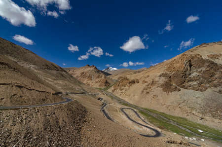 Gata Loops a stretch of windinging road with  21 hairpin bends at a height of about 17000 ft, Leh Manali Road ,Ladakh, India