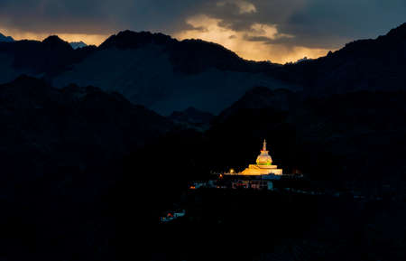 Shanti Stupa lit up  during Sunset, Ladakh, India. Holds relics of the Buddha at its base, enshrined by the 14th Dalai Lama.