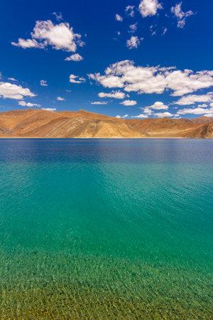 Colourful Pangong lake, Ladakh, India. Pangong Tso is an endorheic lake in the Himalayas situated at an elevation of 4,225 m
