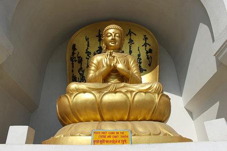 Statue of Lord Buddha at Vishwa Shanti Stupa, also called the Peace Pagoda. Vaishali, Bihar, India