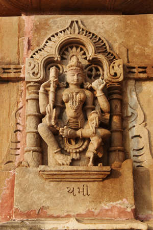 Sculpture of lord yam, Shamlaji temple dedicated to Vishnu or Krishna. Aravali, Gujarat, India.