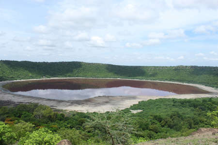 Lonar lake or Lonar crater a notified National Geo heritage monument. Lonar, Buldhana, Maharashtra,India