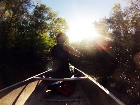 Canoeing down the river in Florida