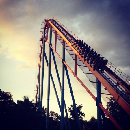 roller: Roller coaster at sunset