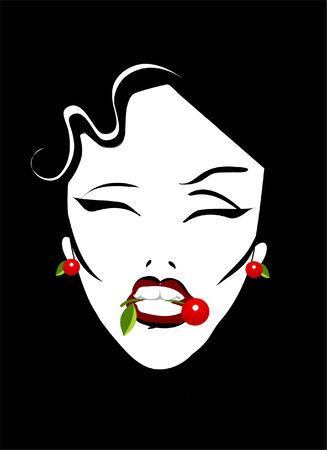 Retro Vintage Glamour Comics cartoon beauty cherry  eyes leaf color  desert  eat  eating  icon portrait modesty passion enjoy  enjoying  food  fruit  girl  holding  life  lip  lips  mouth  nature  red  slim  taste  tasting  teeth  white  woman  women  pos Vector