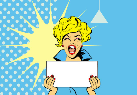 Portrait of a Shocked glamour woman Holding a Blank Stock Vector - 5316150